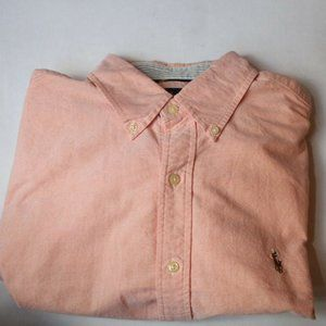 Polo Orange Striped Cuffs Button Down Shirt Large